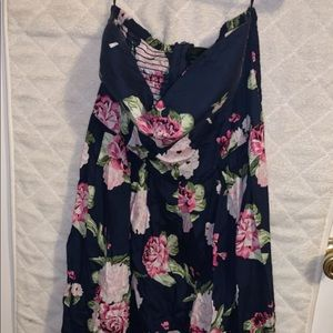 Strapless Navy Floral Mini Dress